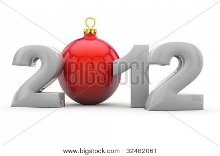 Year 2012 in 3D letters with red christmas tree ball as Zero