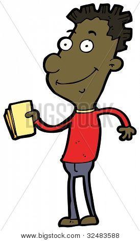 cartoon boy with tickets