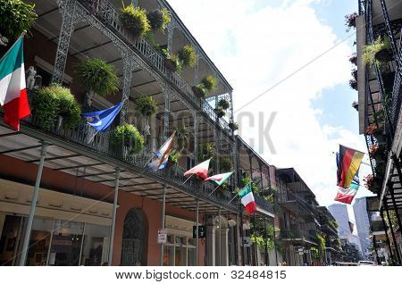 New Orleans Balconies and Flags