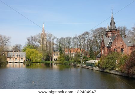 Minnewater In Bruges,  Belguim