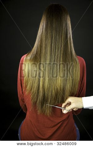 Hairdresser Cuts Long Ruined Hair