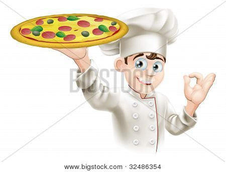 Okay Sign Pizza Chef Illustration