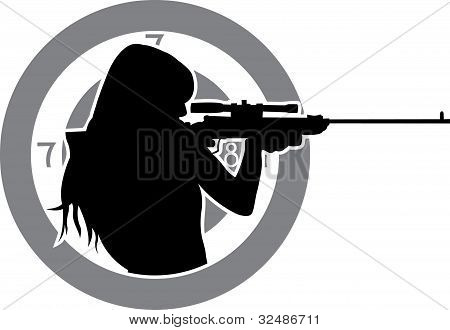 girl aims from a rifle