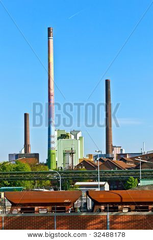 Industry Park With Silo And Chimney In Frankfurt Hoechst Ob 11Th Of April 2011