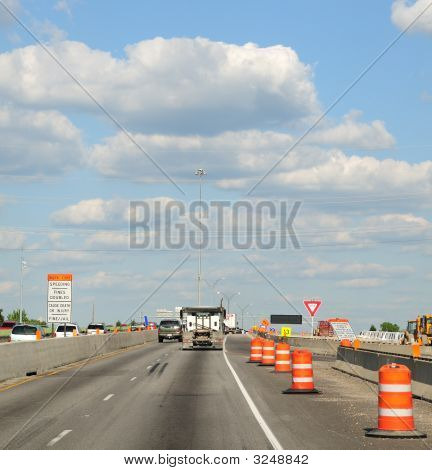 Construction Barrels Along The Interstate Highway
