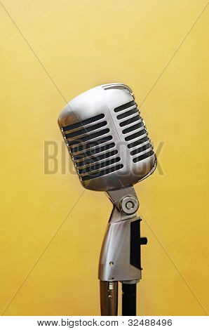 Vocal Studio Microphone Over Yellow