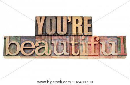 eres hermosa - palabras de afirmación - frase aislada en el tipo de madera vintage tipografía