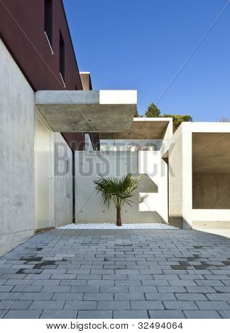 view of the beautiful modern house, entrance from outside