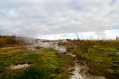 Geyser Natural Miracle. Steam Of Hot Mineral Source In Iceland. Iceland Famous For Geysers. Iceland  poster