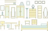 foto of armoire  - a vector illustration of a collection of bedroom furniture - JPG