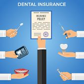 Dental Insurance Services Concept. Dental Care With Flat Icons Hand Holds Insurance Policy, And Hand poster
