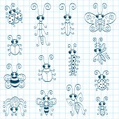 stock photo of gnats  - Some doodle insects  - JPG