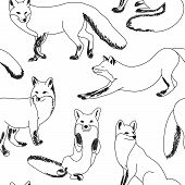 Seamless Pattern With Foxes. Sketch Of Black Foxes Isolated On White Background. Black And White Tex poster