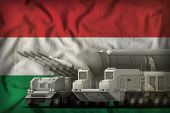 Rocket Forces On The Hungary Flag Background. Hungary Rocket Forces Concept. 3d Illustration poster
