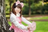 stock photo of lolita  - japanese woman in sweet lolita cosplay - JPG