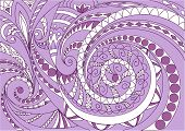 Hand Drawn Zen Tangled White And Violet Geometric Pattern  For Decorate Cards, Dishes,  Porcelain, S poster