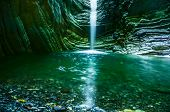 Waterfall Cradling A Whitewashed Lake In The Channel Of A Mountain River Formed In The Form Of A Can poster