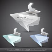Vector Ramadan Kareem transparent icons set with moon and glossy clouds in blue, green and grey colo