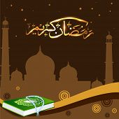 foto of quran sharif  - Arabic Islamic calligraphy of Ramadan Mubarak text with Mosque or Masjid  and Quran and Tabeez - JPG
