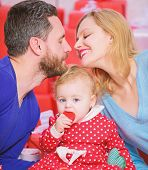 Perfect Celebration. Family Celebrate Their Love. Romantic Couple In Love And Baby Girl. Valentines  poster