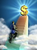 Businessman climbs some stairs leading to a giant dollar symbol. Digital illustration.