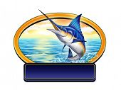 Marlin jumping out of water in a label with copy-space. Digital illustration.