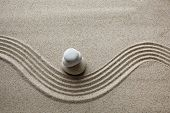 Zen Garden, Stone On Sand. Top View poster