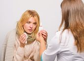 Girl In Scarf Hold Tissue While Doctor Offer Treatment. Cold And Flu Remedies. Recognize Symptoms Of poster
