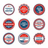 Set Of Badges To Veterans Day In America. Vector Icons Of Veterans Day, 11th November In Usa. Collec poster