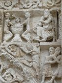 picture of poitiers  - Close up of carvings on the exterior or the cathedral in Poitiers France - JPG