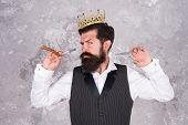 Noble Worker. Crown Award. Barber Shop Concept. Bearded Hipster Shaving. Vintage Barber. Barber Tool poster