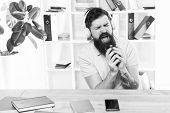 Office Life Rhythm. Regular Office Day. Man Bearded Guy Headphones Sit Office Listen Music Sing Song poster