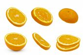 Sliced Orange Fruit Isolated On White Background With Clipping Path poster