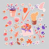 Cute Cartoon Flower Collection, Sticker Style. Flowers, Leaves, Cute Cacti And Flower Pot, Girl Flow poster
