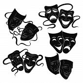 Tragedy And Comedy Theater Masks Set. Collection Of Theater Masks. Black And White Illustration Of C poster