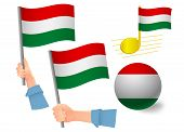 Hungary Flag Icon Set. National Flag Of Hungary Illustration poster