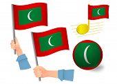 Maldives Flag Icon Set. National Flag Of Maldives Illustration poster