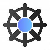 Vessel Steering Wheel Flat Icon. Boat Steering Wheel Color Icons In Trendy Flat Style. Ship Steering poster