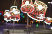 Background Image Consisting Of A Blurred Image Of Festive Floor Lamps With Elegant Lampshade. The La poster