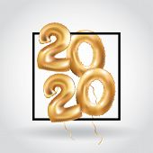 Metallic Gold Letter Balloons, 2020 Happy New Year, Gold Number Balloons, Alphabet Letter Balloons,  poster