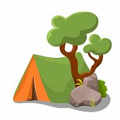 Camp Tent With Tree And Shrub On White Background. Summer Landscape Vector Clipart. Campsite Promoti poster