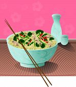 image of chinese food  - A bowl of delicious noodles with vegetables and sake beside it - JPG