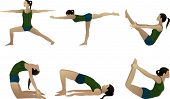 stock photo of dhanurasana  - Yoga series 3 six yoga poses on white - JPG