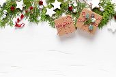 Christmas, New Year Or Noel Holiday Festive Winter Greeting Card With Decorations, Gift, X-mas Ornam poster