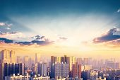 World Cities Day Concept: City Skyline At Sunset poster