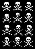 stock photo of forgiven  - Crossed Swords with Skulls vector collection in black background - JPG
