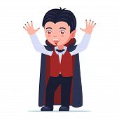 Boy Is Standing In A Halloween Vampire Dracula Costume With His Hands Up. A Child Dressed In A Vampi poster