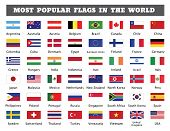 Most Popular Flags In The World. Forty Eight Popular Countries Flags Drawing By Illustration poster