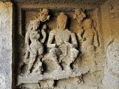 pic of gandhi  - Engraved statue of Buddha and his disciples inside a cave in Sanjay Gandhi National Park Mumbai India - JPG