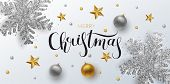Christmas Greeting Card, Web Banner, Vector Background. Gold And Silver Christmas Ball And Stars, Wi poster